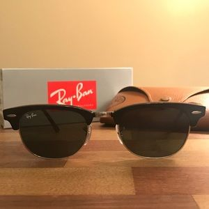 Authentic Ray Ban Clubmaster Black/Silver